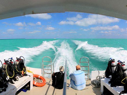 Boat diving Belize