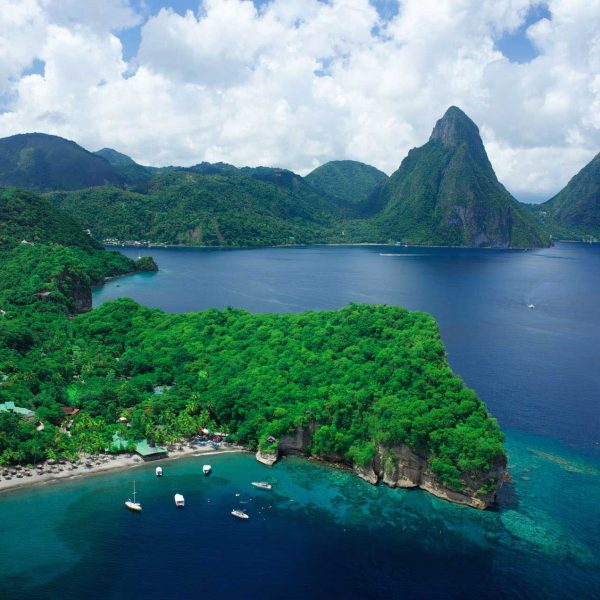 Anse Chastanet and Pitons of St Lucia